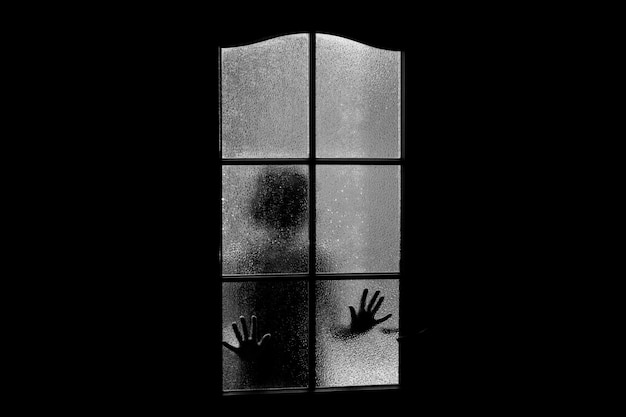 Silhouette sombre de jeune fille derrière une vitre.