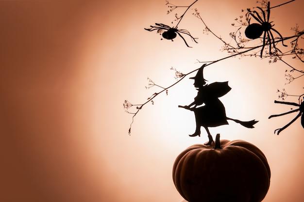 Une silhouette de sorcière volante et des araignées sur un dégradé orange
