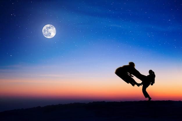 Silhouettes de combattants sur fond de pleine lune