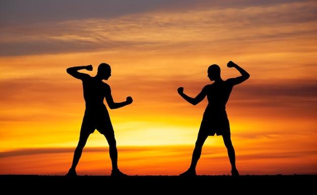 Silhouettes de deux combattants sur fond de feu de coucher de soleil