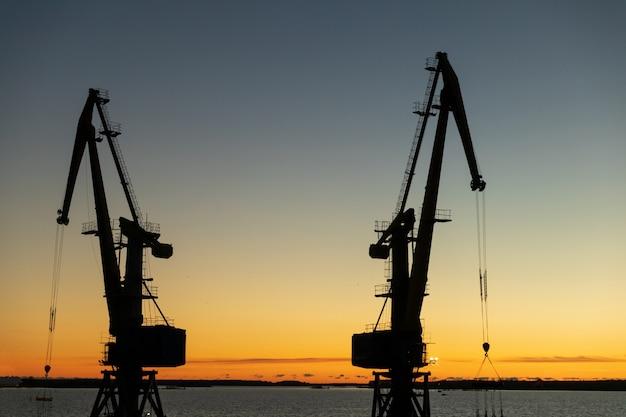 Silhouettes de grues dans le port le soir au coucher du soleil