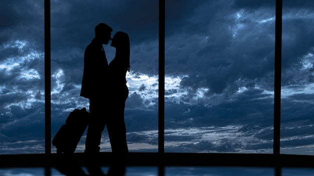 Silhouettes de personnes sur un fond panoramique