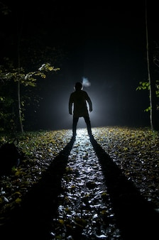 Siluette d'homme dans la forêt la nuit
