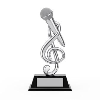 Silver music treble clef avec microphone award trophy sur fond blanc. rendu 3d