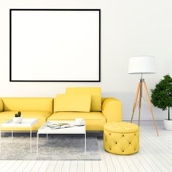 Simuler le cadre d'affiche dans le fond de salon moderne intérieur de hipster, rendu 3d