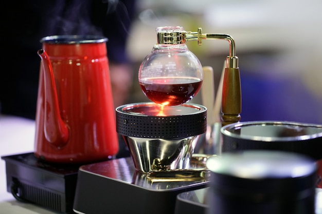 Siphon coffee maker café café, travail de café