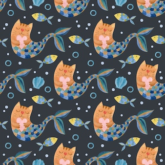 Sirènes de chats mignons aquarelle transparente motif