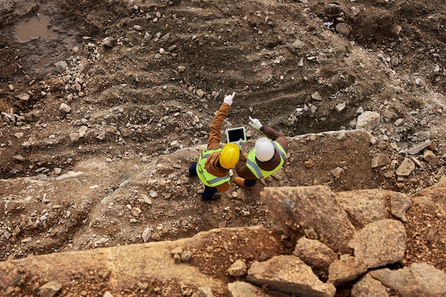 Site d'inspection des travailleurs de la construction