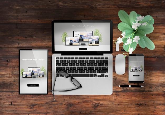 Site web de conception réactive sur les appareils vue de dessus de bureau en bois rendu 3d