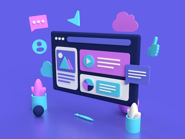 Site web interface navigateur ordinateur web infographie isométrique violet rendu 3d photo premium