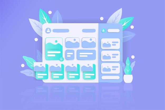 Site web de tableau de bord de style réaliste avec une couleur plate