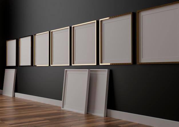 Six cadres blancs verticaux sur mur noir