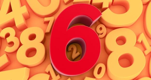 Six chiffres rouges au milieu. collection de nombres rouges 3d - 6
