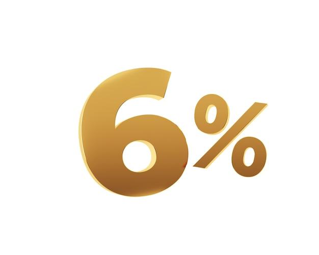 Six pour cent d'or sur fond blanc. rendu 3d.