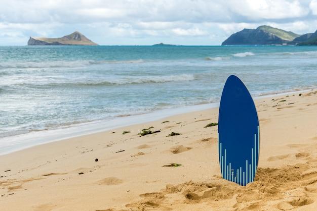 Skim board sur la plage de waimanalo à oahu