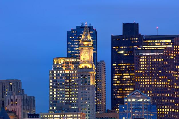 Skyline de boston au coucher du soleil tour d'horloge personnalisée