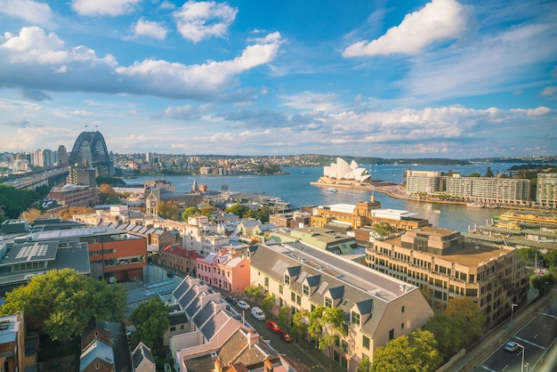 Skyline du centre-ville de sydney en australie en vue de dessus