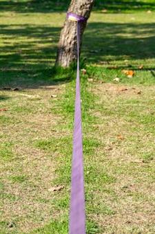 Slackline violet coincé dans un arbre dans un parc de rio de janeiro au brésil.