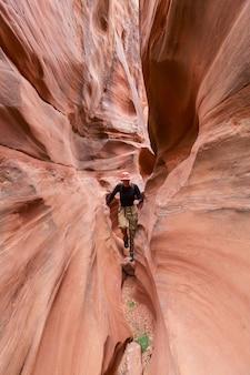 Slot canyon dans grand staircase escalante national park, utah, usa. formations de grès colorées inhabituelles dans les déserts de l'utah.