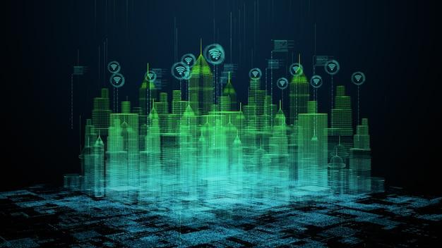 Smart city avec connexion wifi conceptuel