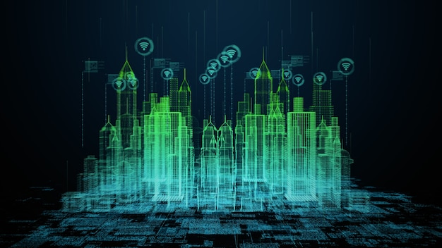 Smart city avec connexion wifi technologie conceptuelle 5g