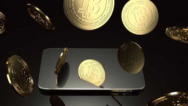 Smart phone et bitcoin rendu 3d pour le concept d'entreprise.