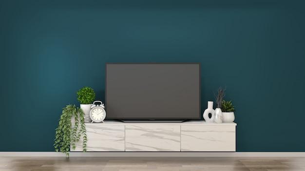 Smart tv sur des armoires en granit dans une pièce vert foncé et un rendu decoration.3d