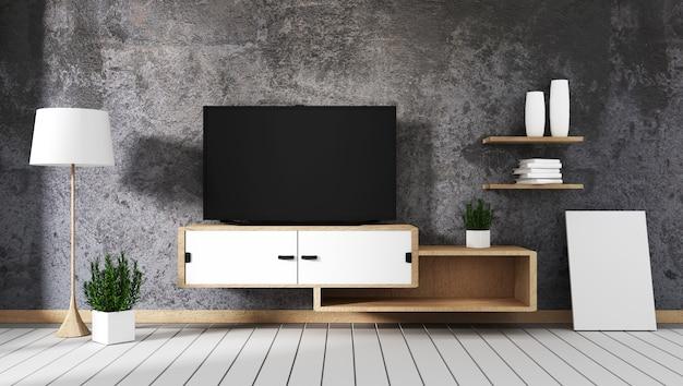Smart tv a conduit sur un mur en béton avec armoire en bois et plante dans un pot vide à l'intérieur.