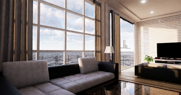 Smart tv mockup avec écran noir et blanc accroché au décor du meuble, salon zen moderne. rendu 3d