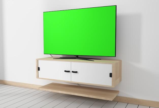 Smart tv mockup avec écran vert vide. rendu 3d