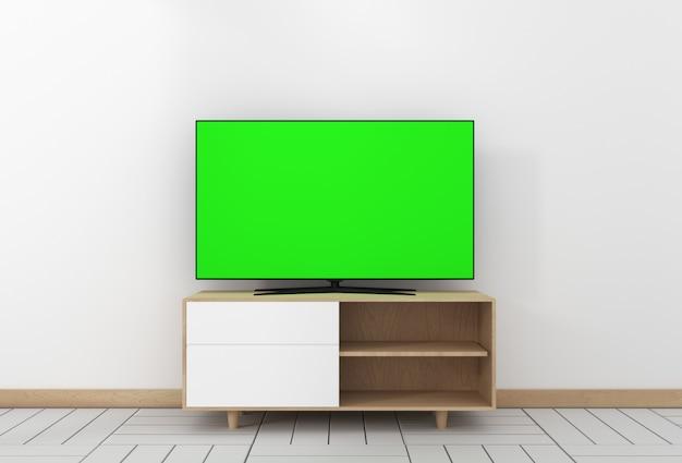 Smart tv mockup intérieur de la salle vide blanc moderne