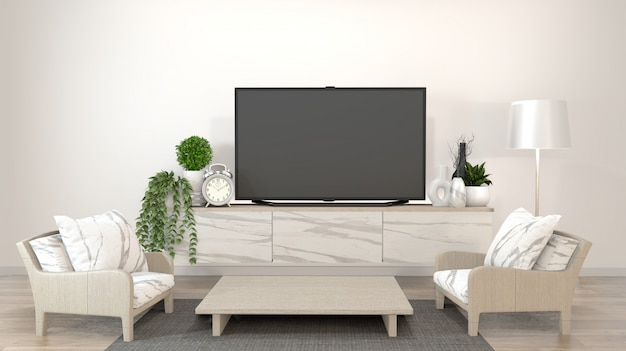 Smart tv sur le salon zen avec un style minimal de décoration. rendu 3d