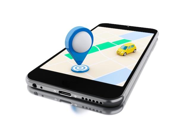 Smartphone 3d avec une carte et un pointeur bleu.