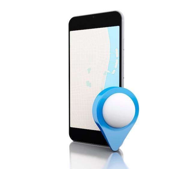 Smartphone 3d avec une carte et un pointeur de carte bleu.