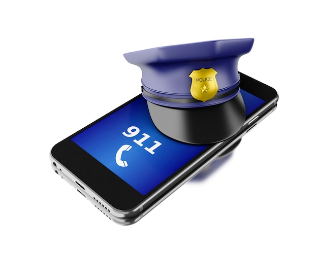 Smartphone 3d avec un chapeau de police. concept de services de sécurité mobile.
