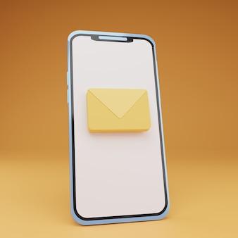 Smartphone 3d avec courrier au centre de l'écran