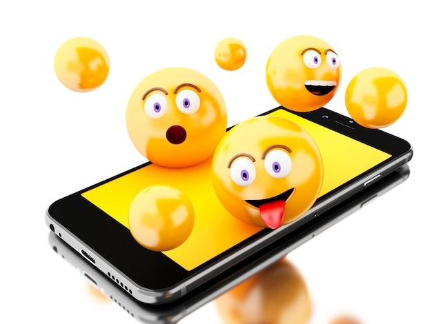 Smartphone 3d Avec Icônes Emoji Photo Premium