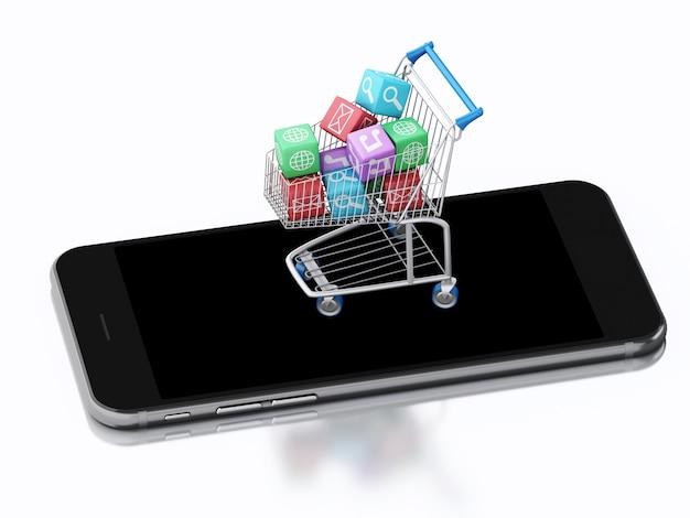 Smartphone 3d et panier avec des icônes d'applications.