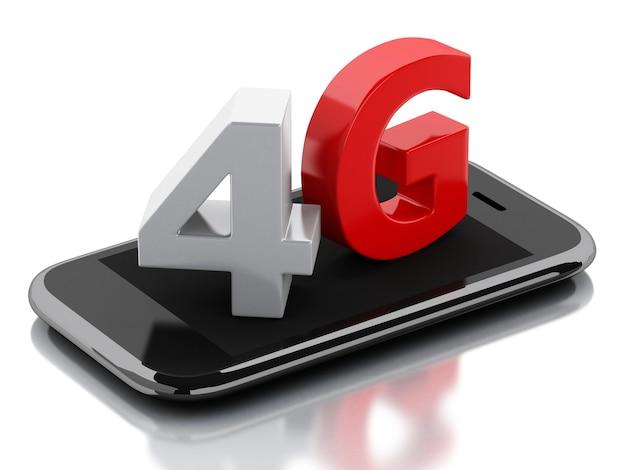 Smartphone 3d avec signe sans fil 4g lte. concept technologique