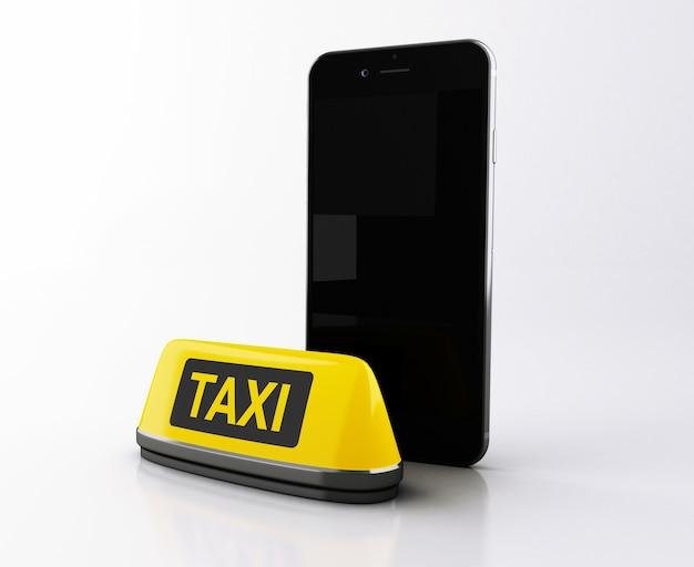 Smartphone 3d avec signe de taxi jaune.