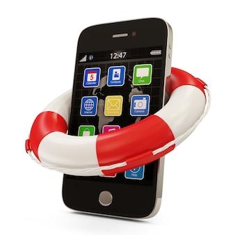Smartphone avec bouée de sauvetage rouge isolé sur blanc