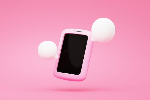 Smartphone avec chat icône bulle rendu 3d du texte