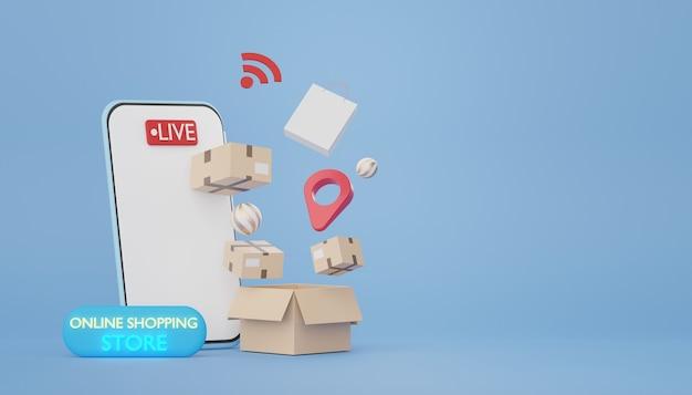Smartphone et colis de rendu 3d avec concept d'achat en ligne produit de vente en direct sur demande