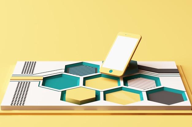 Smartphone avec concept technologique, composition abstraite de plates-formes de formes géométriques de couleur jaune et verte. rendu 3d