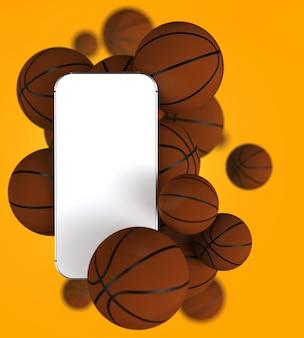 Smartphone avec écran blanc blanc et ballons de basket