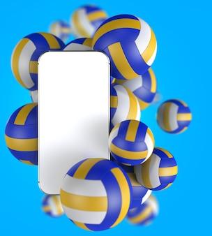 Smartphone avec écran blanc blanc avec des ballons de volleyball