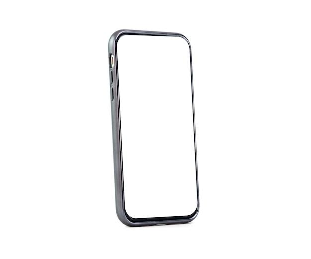 Smartphone avec écran blanc blanc isolé