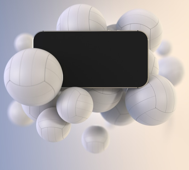 Smartphone avec écran blanc noir avec des ballons de volleyball