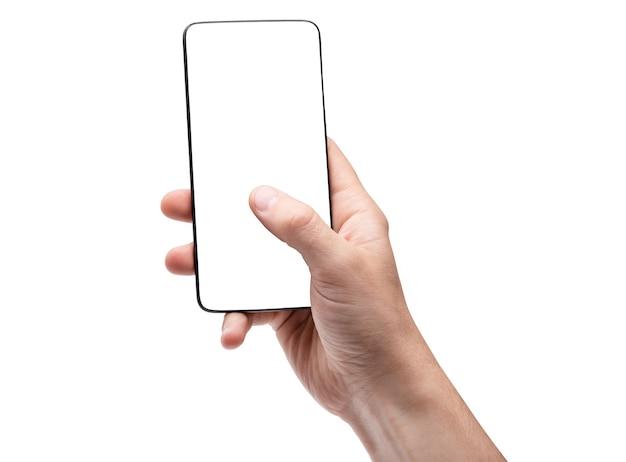 Smartphone avec écran vide debout verticalement à la main