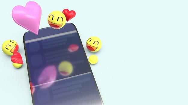 Smartphone avec des émoticônes 3d